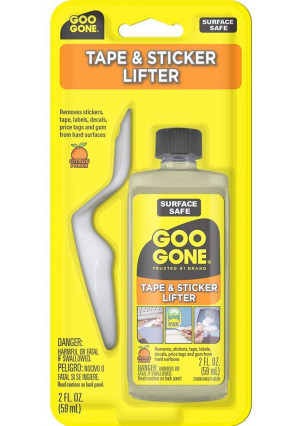 Goo Gone Sticker Lifter - Adhesive and Sticker Remover - 2 Ounce - Citrus Power Removes Stickers Tape Labels Decals Tags and Gum