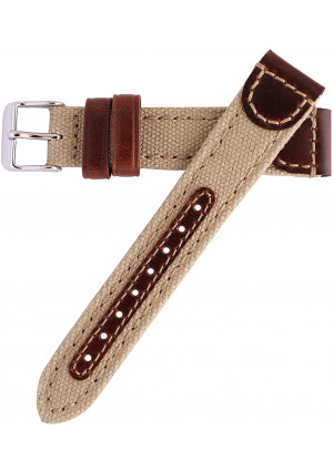 18mm Khaki Genuine Oil Tan Leather and Canvas Hadley Roma Watch Band Strap MS868