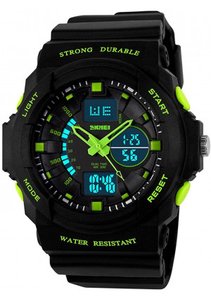 Fanmis Digital Fashion Cobra Men's LED Watch Silicone Iron Triangle Dial Sports Wristwatch (Green)