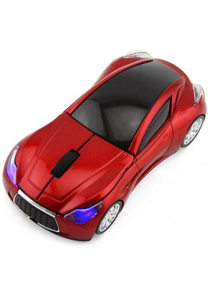 CHUYI Cool Sports 3D Car Shaped Wireless Optical Mouse 1600DPI 3 Button Ergonomic Office Mice with USB Receiver for Travel Business School Home Gift (Red)