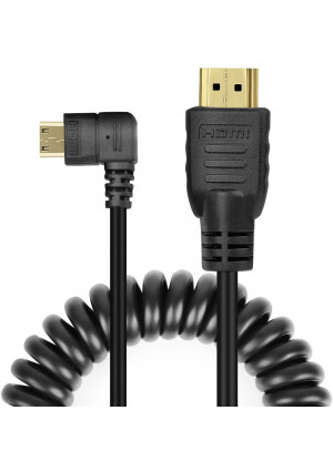UCEC Right-Angled Coiled Mini HDMI to HDMI Male Cable High Speed Support 3D 1080p Ethernet and Audio Return