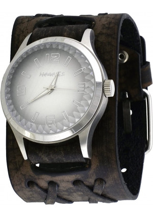 Nemesis #DXB217S Men's Pointium Faceted Crystal Gradient White Dial Wide Double X Leather Band Watch
