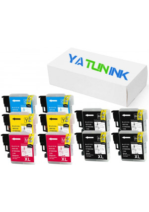 YATUNINK Compatible for Brother LC61 LC-61 Series Ink Cartridge (4BK 2C 2M 2Y) Work with Brother MFC-J415W MFC-6490CW MFC-5490CN MFC-255CW