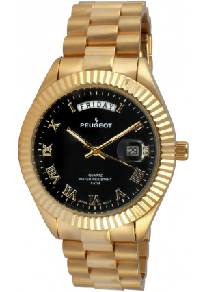 Peugeot 14K All Gold Plated Big Face Luxury Watch with Day Date Windows, Roman Numerals and Coin Edge Fluted Bezel Watch