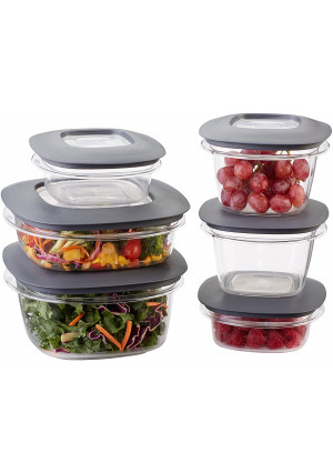 Rubbermaid Premier Easy Find Lids Meal Prep and Food Storage Containers, Set of 6 (12 Pieces Total), Grey  BPA-Free and Stain Resistant