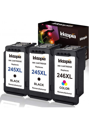 3 Pack Remanufactured Ink Cartridge Replacement for Canon PG 245XL 246XL (2 Black 1 Tri-Color) 245 XL with Ink Level Indicator Used in PIXMA iP2820 MG2420 MG2520 2920 MG2922 MG2924 MX492 MX490 Printer