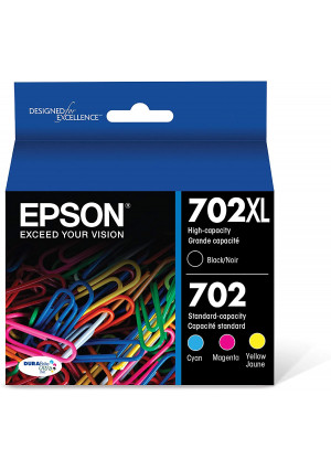 Epson T702XL-BCS DURABrite Ultra Black High Capacity and color Combo Pack Standard Capacity Cartridge Ink,Black and color combo pack