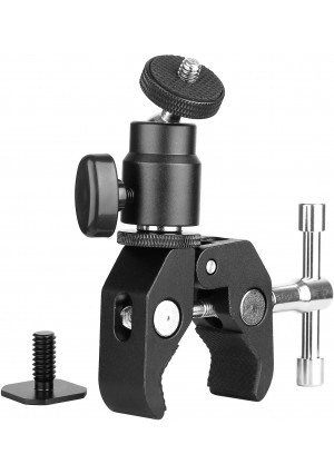 ChromLives Camera Clamp Mount Ball Head Clamp - Super Clamp and Mini Ball Head Hot Shoe Mount Adapter with 1/4'' -20 Tripod Screw for LCD/DV Monitor, LED Lights, Flash Light,Microphone and More