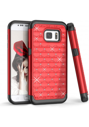 TILL Galaxy S7 Case, Galaxy S7 S VII Case for Girls, (TM) Studded Rhinestone Crystal Bling Shock Absorbing Hybrid Defender Rugged Slim Case Cover for Samsung Galaxy S7 GS7 S VII G930 5.1Inch [Red]