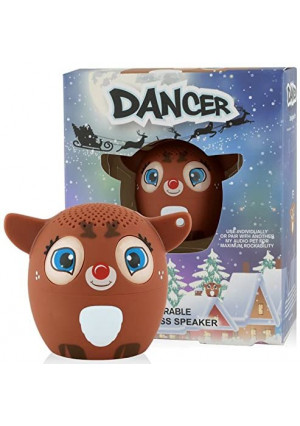 My Audio Pet Reindeer Mini Bluetooth Animal Wireless Speaker for Kids of All Ages - True Wireless Stereo Technology  Pair with Another TWS Pet for Powerful Rich Room-Filling Sound - (Dancer)