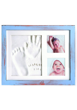 Baby Handprint Frame Kit and Footprint Mold with Clay and Name Stamps   Shower Gift (Blue)