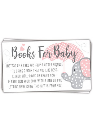 50 Pink Elephant Books for Baby Shower Request Cards - Invitation Inserts