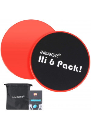 INMAKER Exercise Sliders Fitness, Dual Sided Strength Slides, Core Gliding Discs with Carry Bag, Manual and Ebook