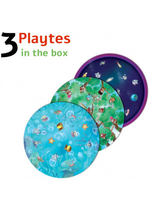 Playte Memory - Game Plate for Children - Healthy Eating Habits in Kids - Turn Dinner Time Into Play Time with Jungle, Space and Under the Sea Board Game Plates - BPA Free Dishwasher Safe - Set of 3