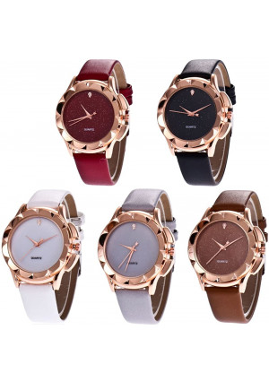 CdyBox Wholesale PU Leather Crystal Watch 5 Pack Rhinestone Starry Sky Wristwatches for Women Girls