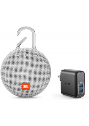 JBL Clip 3 Portable Bluetooth Wireless Speaker Bundle with Dual Port 24W USB Travel Wall Charger - White