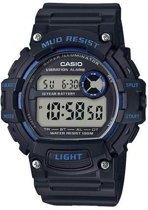 Casio Men's Mud Resistant Stainless Steel Quartz Watch with Resin Strap, Black, 27.6 (Model: TRT-110H-2AVCF)