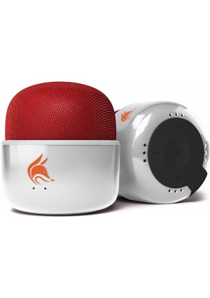 Mini Bluetooth Speaker with FM Radio  an Elegant Small Speaker with a Big 5W Sound. Wireless Speaker for iPhone, iPad, Smartphone. Pocket Size Portable (White and Red)