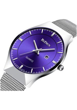 Men Watch Ultra Thin Watches Stainless Steel Mesh Band Quartz Wristwatch Fashion Date Waterproof Watches