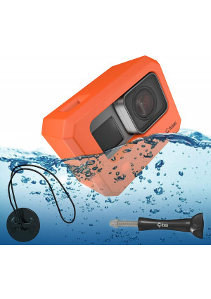 Chronos Floaty Case with Extra Long Aluminum Thumbscrew and Tether Kit, Extremely Buoyant, Surf Float, Floatie, Floater, Floating Case, Dive, Underwater, Scuba for GoPro Hero 7, Go Pro Hero 6,5