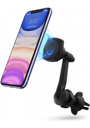 Ringke Power Clip Wing Magnetic Car Mount Phone Holder Premium Air Vent Cradle 360 Rotation Long Reach Neck Cell Phone Automobile Cradles for Universal Smartphone