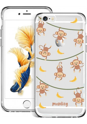 Fashion Anti-Scratch Soft Durable TPU Ultra-Clear Silicone UV Printing Protective Monkey Hanging Pattern Phone Case for iPhone 6s 6