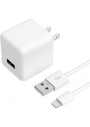 USB Wall Charger iPhone Adapter by TalkWorks | 12W/2.4A | Includes 5ft Lightning Cable Apple MFI Certified For iPhone 11, 11 Pro/Max, XS/Max, XR, X, 8, 7, 6, SE, 5, iPad, iPod, AirPods, Watch - White