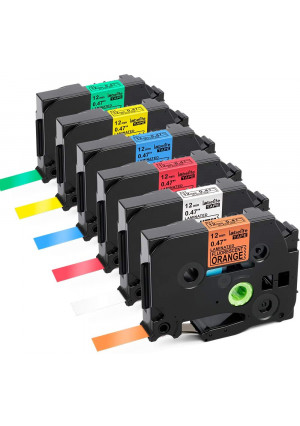 Labelife Compatible Label Tape Replacement for Brother P Touch TZe Label Tape 12mm 0.47 Inch (Black on White/Orange/Red/Blue/Yellow/Green) for P-Touch PT-D210 H110 Label Maker, Laminated, 6-Pack