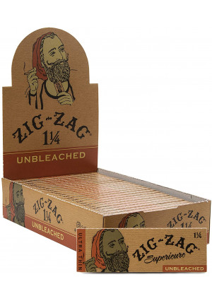 Zig-Zag Unbleached Rolling Papers 1 1/4 (24 Booklets Retailers Box)