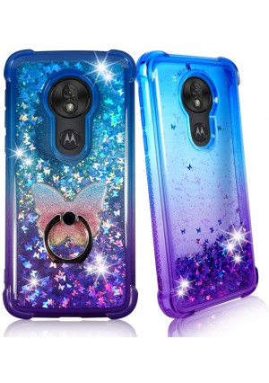 """Zase Moto G7 Play Clear Case, [Liquid Glitter Sparkle Bling] for Moto G7 Play (5.7"""") Protective Cover 3D Waterfall Floating Quicksand [Shockproof Bumper] w/Phone Ring Holder (Gradient Blue Purple)"""
