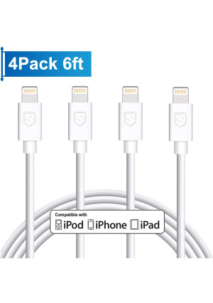 iPhone Charger, 4Pack 6FT Lightning to USB Charging Cable Cord Compatible with iPhone X 8 8Plus 7 7Plus 6 6Plus 6S 6SPlus 5 5S SE,iPad,iPod
