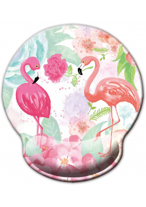 Non Slip Mouse Pad Wrist Rest for Office, Gaming,Computer, Laptop and Mac - Durable and Comfortable and Lightweight for Easy Typing and Memory Foam Pain Relief-Ergonomic Support (Cute Flamingos)