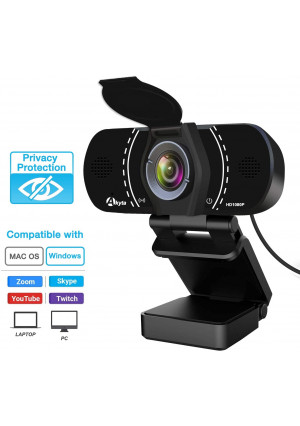 HD Pro Webcam 1080P with Microphone, Laptop Desktop PC Web Computer Camera for MAC Video Calling Recording Video Conference, 110 Degree Wide Angle,USB Streaming Webcams with Privacy Shutter and Tripod