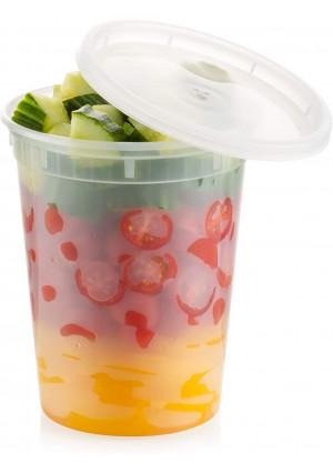 ZEML 32 oz. Deli Food Storage Freezer Containers With Leak-proof Lids - 24 Sets