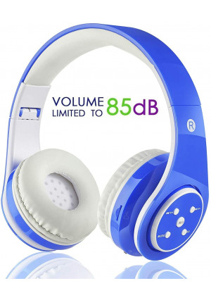 OXENDURE Kids Wireless Bluetooth Headphone with Microphone Volume Limited Foldable Earphone Children Stereo On Ear Headset for PC/TV/Tablets/Smartphones (Blue)