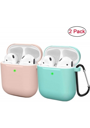 Compatible AirPods Case Cover Silicone Protective Skin for Apple Airpod Case 2and1 (2 Pack) Sand Pink/Turquoise