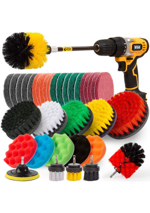Holikme 37Piece Drill Brush Attachments Set,Scrub Pads and Sponge, Power Scrubber Brush with Extend Long Attachment All purpose Clean for Grout, Tiles, Sinks, Bathtub, Bathroom, Kitchen,Yellow and black