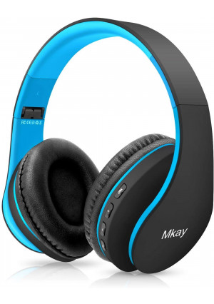 Bluetooth Headphones Wireless,MKay Over Ear Headset V5.0 with Microphone, Foldable and Lightweight, Support Tf Card MP3 Mode and Fm Radio for Cellphones Laptop TV(Black-Blue)