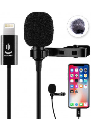 Lavalier Lapel Microphone, Professional Omnidirectional Video Audio Microphone for iPhone X Xr Xs max 8 8plus 7 7plus 6 6plus 6s 5 iPad (6m/19.6ft)