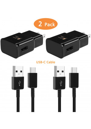Adaptive Fast Wall Charger with USB Type C Cable Kit Compatible with Samsung Galaxy S9 S8 S10 S10e S8/9/10Plus Note 8/9 Active, LG G6 G5 V30 V20, Google Pixel 2 Nexus 5X 6p and More