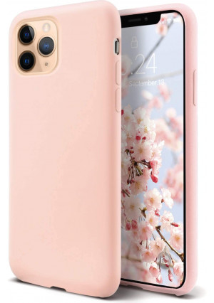 Coolwee Liquid Silicone iPhone 11 Pro Max Case Full Body Protection Shockproof Cover Drop Protection Rubber Cushion Gel Matte Women Girl Men Slim Protective Case for Apple iPhone 11 Pro Max Sand Pink