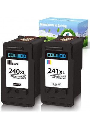 CLOWOD Remanufactured Ink Cartridge Replacement for Canon PG-240XL PG-241XL Used in Canon Pixma MG2120 MG3122 MG3220 MG3522 MX372 MX439 MX472 TS5120 Printers(1BK+1Tri-Color)