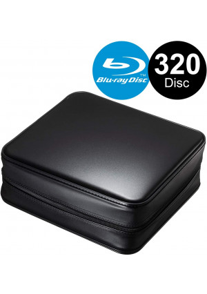 SANWA (Japan Brand 320 Large Capacity CD Case, Portable DVD/VCD Storage, EVA Protective Blu-ray Wallet, Binder, Holder, Booklet with Attached Handle for Car, Home, Office, Travel (Black)