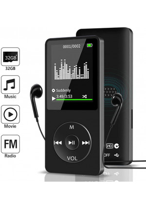 Aigital MP3 Muisc Player with 32 GB Memory Card and Support Up to 128GB, Portable Media Player with FM Radio/E-Book, HiFi Lossless SoundBuilt-in Speaker