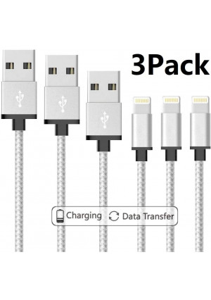 iPhone Charger Cable, MFi Certified 3Pack 3.3ft Nylon Braided USB Charging and Syncing Cable Compatible iPhone Xs/Max/XR/X/8/8Plus/7/7Plus/6/6S Plus/SE/iPad