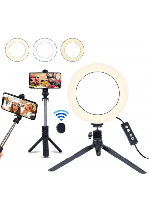 """8"""" Selfie Ring Light with Selfie Stick Tripod for Live Stream/Makeup, Saveyour Mini LED Camera Selfie Ringlight for YouTube Video/Photography Compatible with iPhone Xs Max XR Android"""
