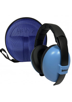 BANZ Earmuffs with Case  Infant Hearing Protection  Ages 0-2+ Years  The Best Headphones for Babies and Toddlers  Industry Leading Noise Reduction Rating  Block Noise (Blue)