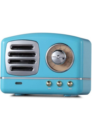 Portable Bluetooth Retro Speaker, Wireless Mini Vintage Speaker with Rich Bass, Stereo, Built-in Mic for Travel, Home,Outdoors (Blue)...