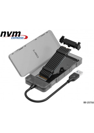 NVMe M.2 SSD USB 3.1 Gen2 Disk Enclosure with USB Type A Plug, NV-2575A External M2 Adapter, 10Gbps PCIe NVMe HDD Card Reader Hard Drive Extension Converter Caddy Box, Tool-Free Case with Heatsink