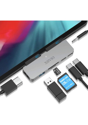 """USB C Hub for iPad Pro 2019 2018,XIIVIO 7 in 1 USB Type C to 4K HDMI Adapter with USB 3.0, USB-C PD Charging,SD/TF Card Reader,3.5mm Headphone Jack Compatible with 2019 2018 New iPad Pro 11""""/12.9"""""""